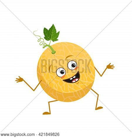 Cute Melon Character With Joy Emotions, Smiling Face, Happy Eyes, Arms And Legs. A Mischievous Vitam