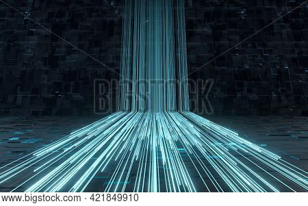 Glowing Lines And Cubes With Black Background, 3D Rendering.