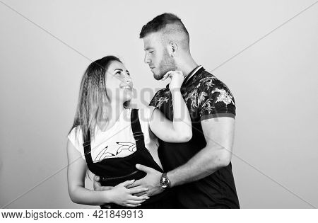 Romantic Relations. Couple In Love. Couple Goals Concept. Man And Woman Beige Background. Family Lov