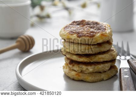 Stack Of Cheese Flapjacks. Rounf Pancakes Made From Cotage Cheese