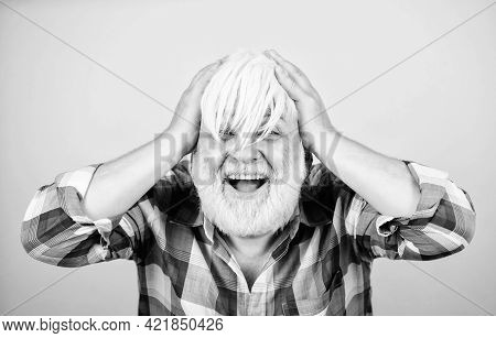 Amazing Hair Grace. Mature Bearded Man In White Wig. Hairloss Concept. Health Care. Happy Old Granpa