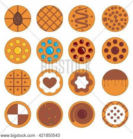 Set Of Round Cookies With Caramel, Chocolate, Nuts And Various Fillings. Vector Illustrations And Dr