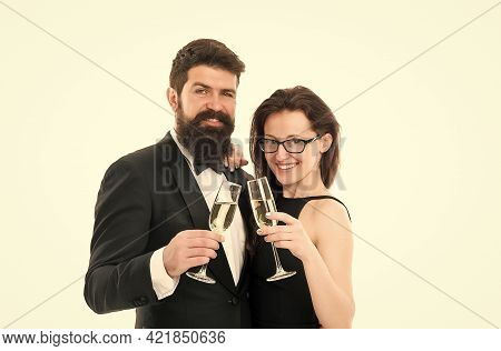 Business Corporate Party. Cheers Concept. Couple In Love. Man In Tuxedo With Sexy Lady. Formal Coupl