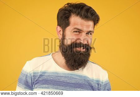 Joy And Happiness Concept. Portrait Of Bearded Stylish Man. Brutal Caucasian Guy With Moustache. Mat