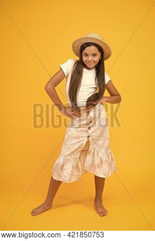 Teen Girl Summer Fashion. Beauty In Straw Hat. Beach Style For Kids. Its Holiday Time. Happy Summer
