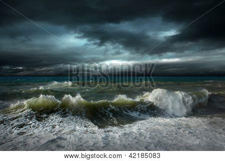 View of storm seascape (not poorlightning, it's drammatic light)