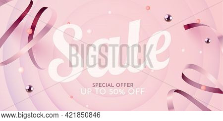 Great Discount. Mega Sale Banner Or Poster Design On Bright Red Background. Sale Word Composition Wi
