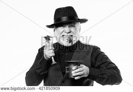 Strange People. Elegant Bartender Wear Hat And Vest Prepare Drink. Horror Themed Halloween Party. We