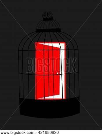 Illustration Of A Red Door Being Captive In A Bird Cage, Isolated On A Grey Dark Background