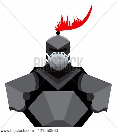 Illustration Of A Man In An Armour And A Mask Against Corona Virus