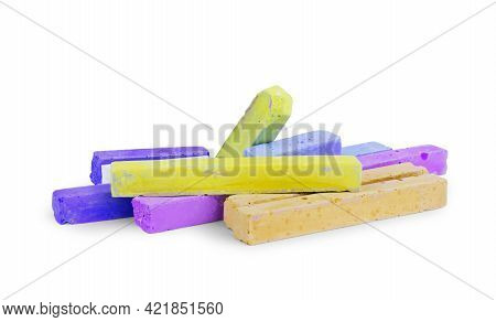 Colored Chalks Isolated On White Background Closeup, Drawing, Green, Arranged, Creativity, Childhood
