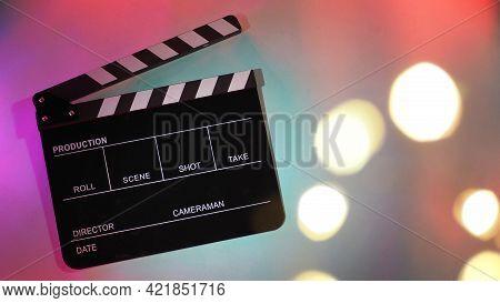 Black Clapperboard Or Movie Clapper Board Or Slate On Neon Pink ,purple,blue,tiffany Blue ,mint Gree