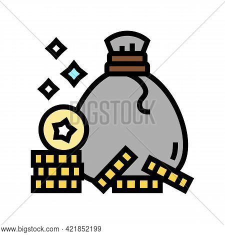 Coin Bag Award For Win Video Game Level Color Icon Vector. Coin Bag Award For Win Video Game Level S
