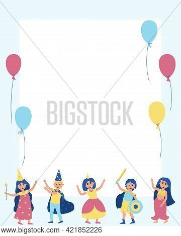 Frame With Children In Carnival Costumes And Balloons. To Participate In The Holiday, Young Men And