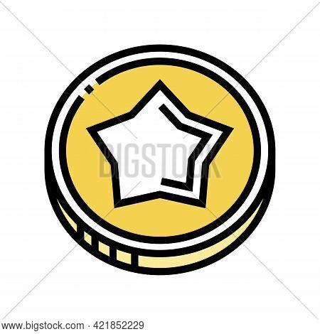 Coin Gambling Game Prize Color Icon Vector. Coin Gambling Game Prize Sign. Isolated Symbol Illustrat