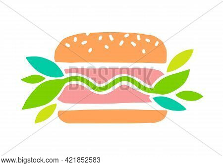 Meat Vegan Vector Icon. Plant Based Hamburger. Green Leaves Instead Of Meat Cutlet. Vegan Product Ma