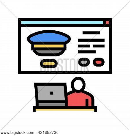 Online Registration In Flight School Color Icon Vector. Online Registration In Flight School Sign. I