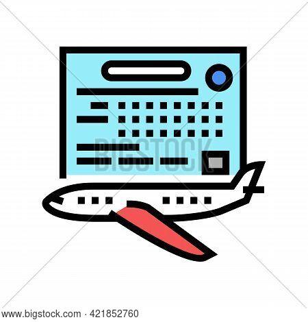 Study Time Flight School Color Icon Vector. Study Time Flight School Sign. Isolated Symbol Illustrat