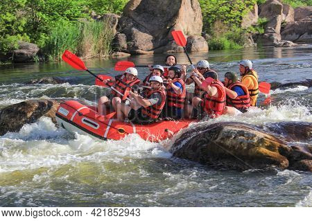 Pacuare River, Costa Rica -may  15 2021: Rafting Team , Summer Extreme Water Sport. Group Of People