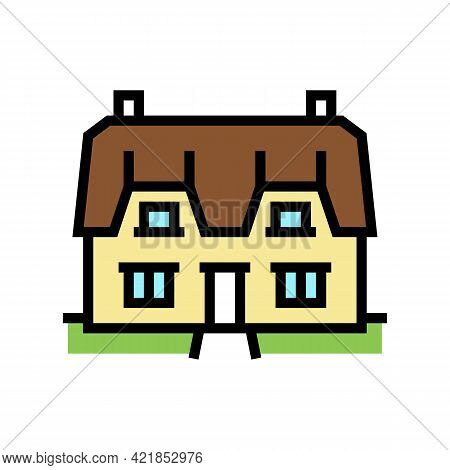 Cottage House Color Icon Vector. Cottage House Sign. Isolated Symbol Illustration