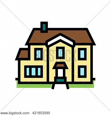 Single Family House Color Icon Vector. Single Family House Sign. Isolated Symbol Illustration