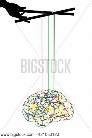 Illustration Of A Brain Being Manipulated, Isolated On White
