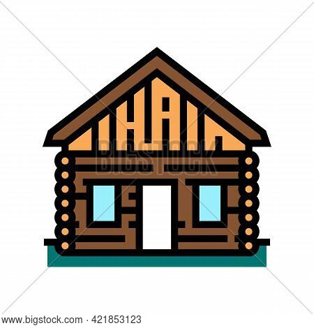 Cabin House Color Icon Vector. Cabin House Sign. Isolated Symbol Illustration