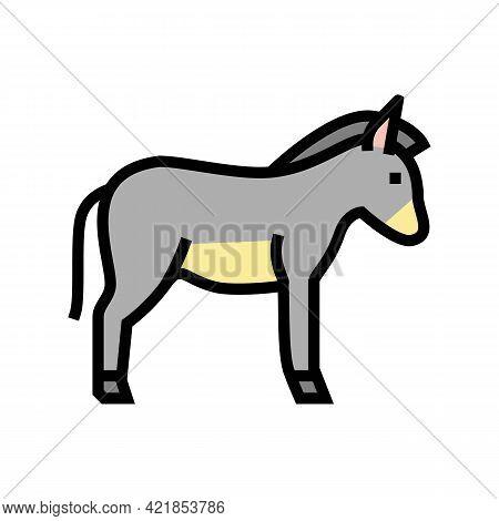 Donkey Domestic Animal Color Icon Vector. Donkey Domestic Animal Sign. Isolated Symbol Illustration