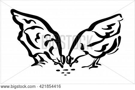 Two Young Hens Peck At The Grain. Illustration Of The Logo, In Black And White Style.