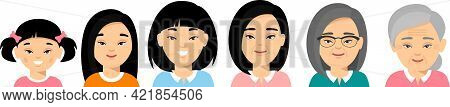 Set Of Asian Age Group Avatars Woman In Colorful Style. All Age Group Of Chinese Female.