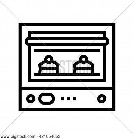 Oven Baking Dessert Line Icon Vector. Oven Baking Dessert Sign. Isolated Contour Symbol Black Illust