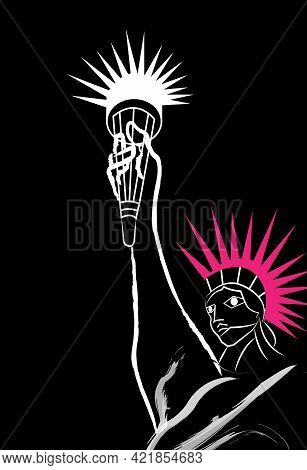 Illustration Of Statue Of Liberty With A Pink Punk Hairstyle