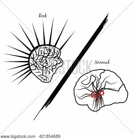 Illustration Of Two Brains, One Of A Punk Person And One Of A Normal Person Showing The Differences
