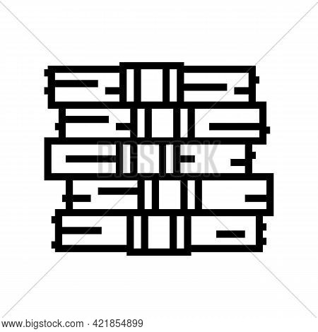 Heap Of Dollar In Financial Game Line Icon Vector. Heap Of Dollar In Financial Game Sign. Isolated C