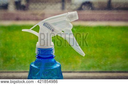 Blue Washing Spray Head On The Windowsill, Copyspace