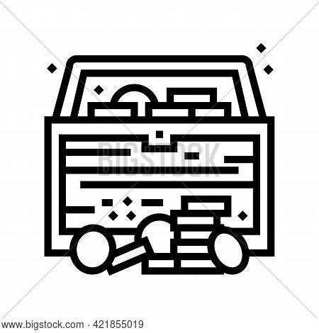 Treasure Chest Found In Pirate Game Line Icon Vector. Treasure Chest Found In Pirate Game Sign. Isol