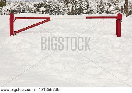 Pathway Closed Due A Snowfall. Forbidden Pass. Barrier