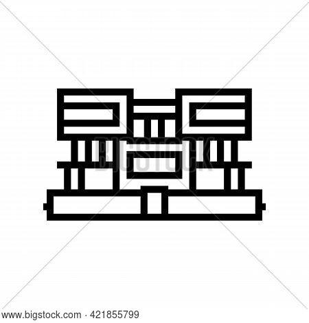 Villa House Line Icon Vector. Villa House Sign. Isolated Contour Symbol Black Illustration