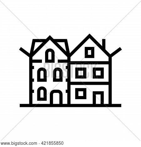 Townhome House Line Icon Vector. Townhome House Sign. Isolated Contour Symbol Black Illustration