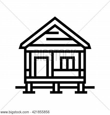 Bungalow House Line Icon Vector. Bungalow House Sign. Isolated Contour Symbol Black Illustration