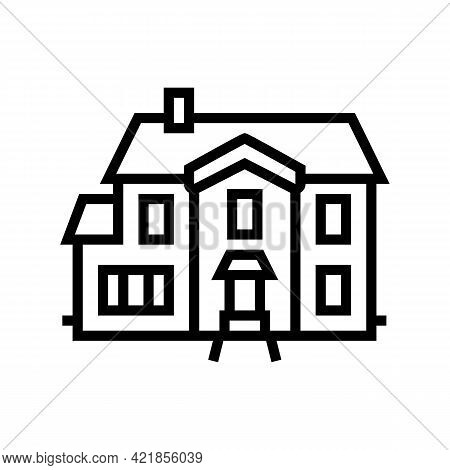 Single Family House Line Icon Vector. Single Family House Sign. Isolated Contour Symbol Black Illust