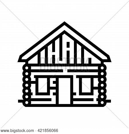Cabin House Line Icon Vector. Cabin House Sign. Isolated Contour Symbol Black Illustration