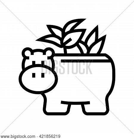 Pot In Hippopotamus Form For House Plant Line Icon Vector. Pot In Hippopotamus Form For House Plant