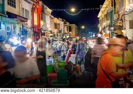 Phuket Walking Street night market in Phuket old town, Thailand.