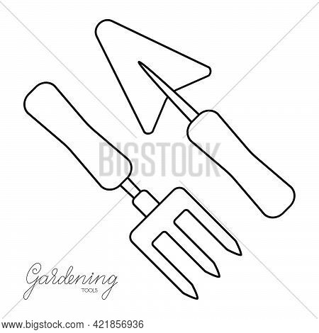Gardening Tools Hand Fork And Trowel Outline Simple Minimalistic Flat Design Vector Illustration Iso