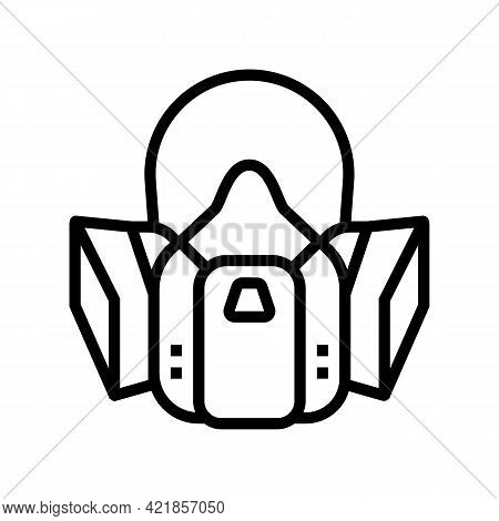 Respirator Protection From Smoke Line Icon Vector. Respirator Protection From Smoke Sign. Isolated C