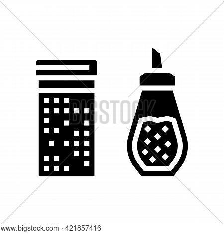 Cinnamon And Sugar Bottle Glyph Icon Vector. Cinnamon And Sugar Bottle Sign. Isolated Contour Symbol