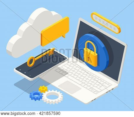 Isometric Data Security System. Cyber Security And Privacy. Traffic Encryption, Vpn, Privacy Protect