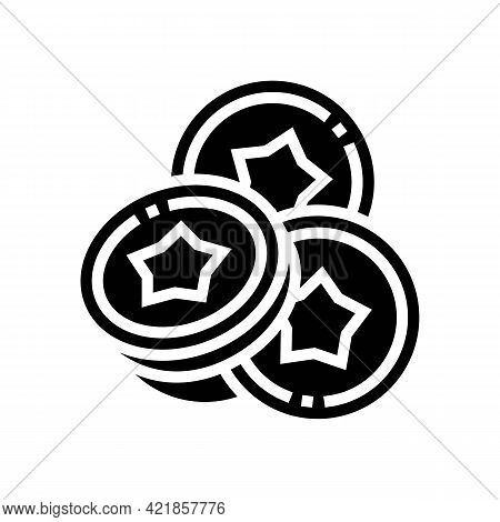 Coins For Betting In Financial Game App Glyph Icon Vector. Coins For Betting In Financial Game App S