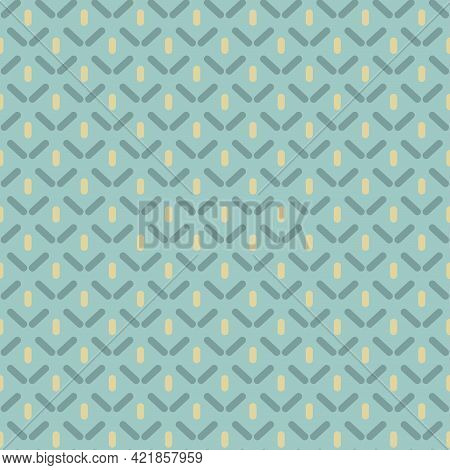 Seamless Pattern With Strokes And Rhombus On Blue Background. Ethnic Boho Symmetric Background. Morr